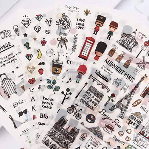 BLOUR Europäische Reise Papier Aufkleber Dekoration Tagebuch Scrapbooking Etikett Aufkleber Kawaii Korean Stationery Stickers6 Pcs/Pack