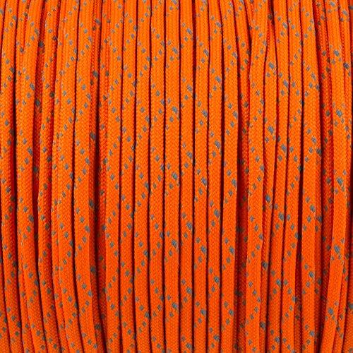 Paracord 550, corde de parachute, fabriqué en UE, mil. type III, testés, 15 m Reflektive Orange