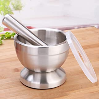 Stainless Steel Mortar and Pestle Set Pill Crusher,Spice Grinder with Anti Slip Base and lid for Garlic,Spices,Guacamole,Herbs,Medicine,Peppercorns, Cacao