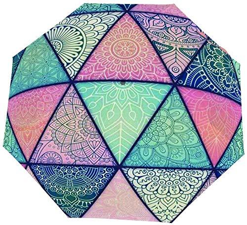 Paraguas manual de tres pliegues Línea triangular Simetría Azulejos de colores y sombras Nano Apertura manual Paraguas cerrado de tres pliegues Protector solar que cubre el sol y la lluvia-Manual