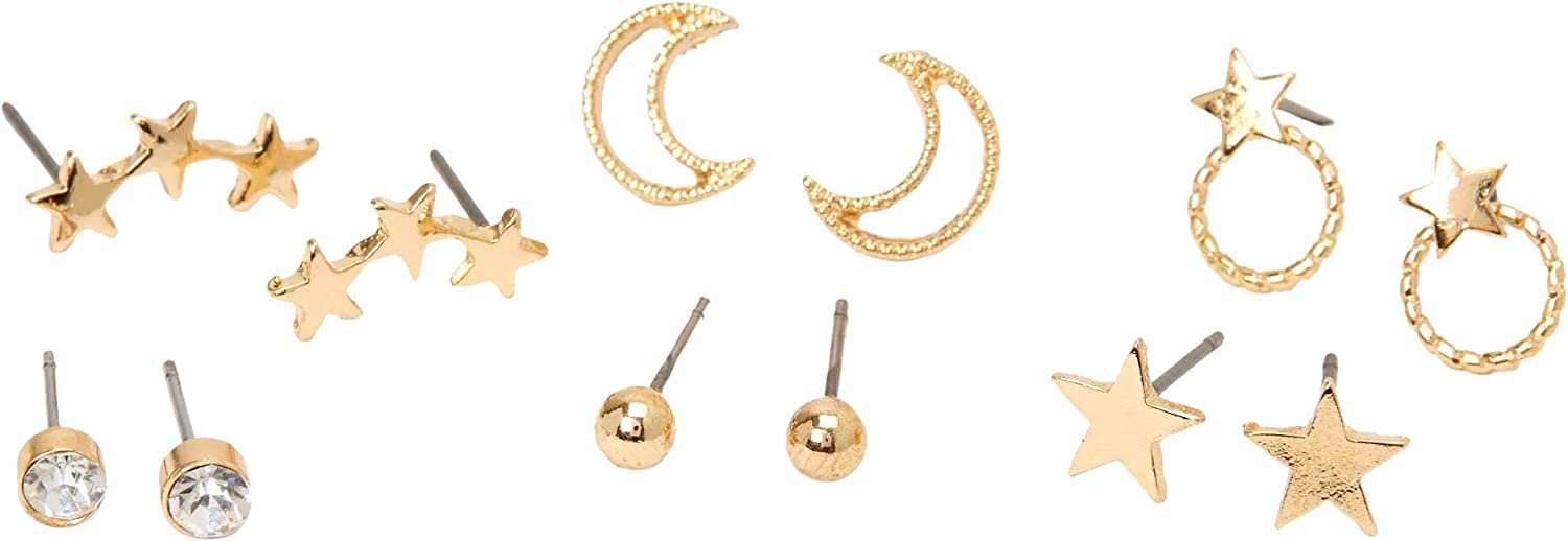 Claire's Gold Mixed Celestial Stud Earrings for Girls, Post Back, Cute Jewelry for Girls, 6 Pack