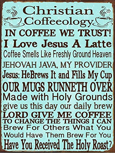 Homebody Accents Christian Coffeeology Metal Sign, Coffee Lovers, Kitchen Decor, CafeDecor