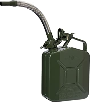 Oxid7® Jerry Can 5L Metal with Flexible Metal Spout - for Petrol and Diesel - UN-Approved - TÜV Rheinland Certified - Pouring Time under 25 seconds - Type Inspected - Silver Green: image