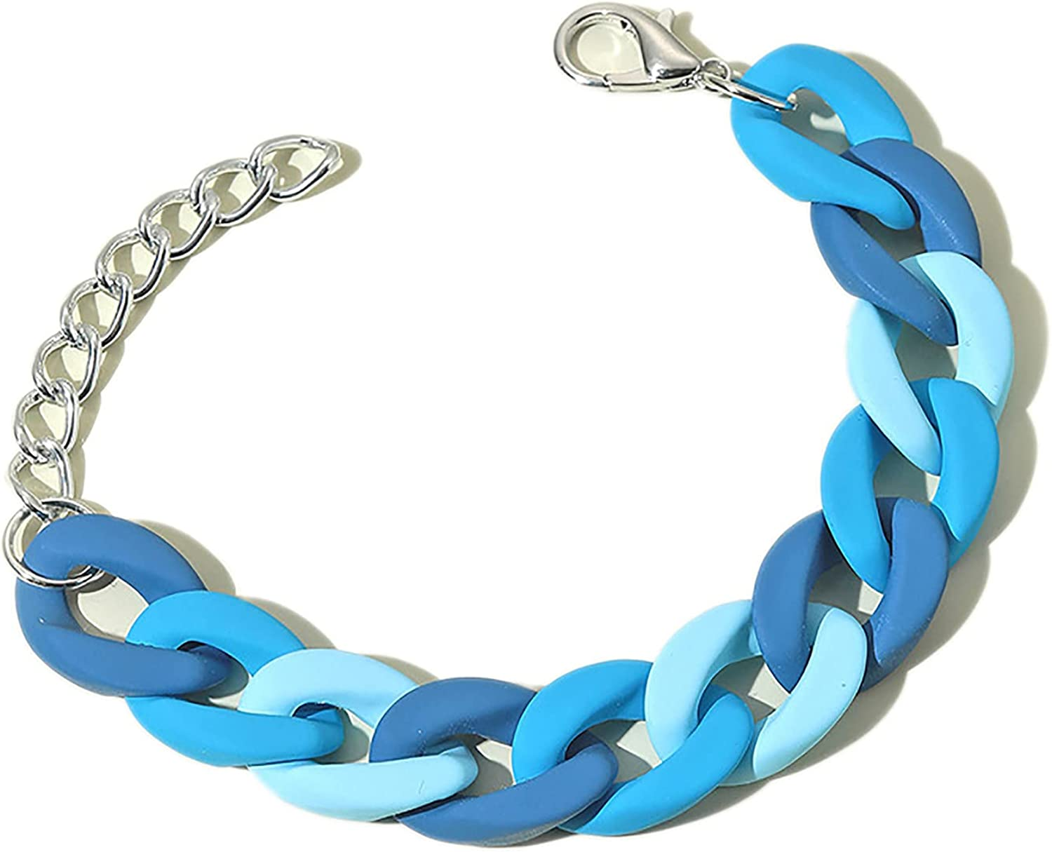 Colorful Resin Chunky Link Bracelet Exaggerated Thick Acrylic Adjustable Paperclip Oval Square Chain Rainbow Bracelet for Women Girl Summer Beach Geometric Jewelry-E blue