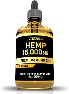 iVitamins Hemp Oil Drops for Pain and Anxiety : 15,000mg : May Help with Stress, Inflammation, Pain, Sleep, Anxiety, Depre...