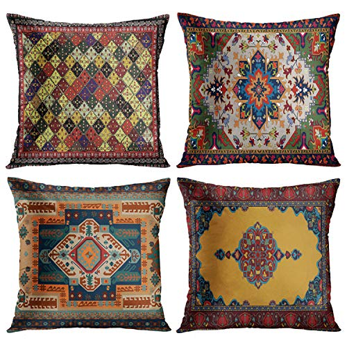 Emvency Juego de 4 fundas de almohada de estilo tribal abstracto, amarillo y azul, diseño de alfombra persa, decoración del hogar, cuadradas, 45,7 x 45,7 cm