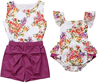 Family Tops, Newborn Princess Toddler Girl Kids Baby Matching Sister Clothes Outfit Set Floral Romper Tops Shorts Clothes Set