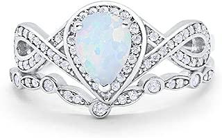 Teardrop Bridal Set Art Deco Wedding Engagement Ring Band 925 Sterling Silver Pear Round CZ