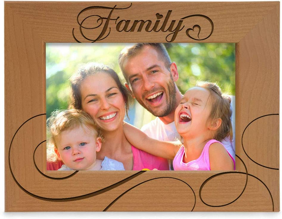 KATE POSH Family Natural Wood Engraved Picture Frame (4x6-Horizontal)
