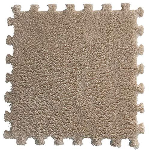SimidunEUR Teppich Interlocking Schaum Plüsch Boden Puzzle-Matten mit Kanten - Perfekt für Bodenschutz, Garage, Bewegung, Yoga, Spielzimmer. Eva-Schaum,Leichtes Kamel,8 Pics (30 * 30) cm