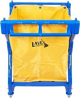 Lavex Commercial Laundry Cart/Trash Cart, 10 Bushel Blue Folding Plastic Frame and Yellow Vinyl Bag