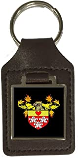 Hamilton Family Crest Surname Coat Of Arms Brown Leather Keyring Engraved
