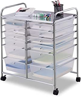 Giantex 12 Drawer Rolling Storage Cart Tools Scrapbook Paper Office School Organizer (White)