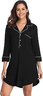 6d32edc602 Lusofie Nightgown Women s Long Sleeve Nightshirt Boyfriend Sleep Shirt  Button-up Lapel Collar Sleepwear