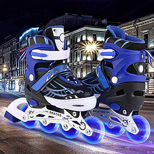 Aceshin Adjustable Inline Skates for Kids with Full Light Up Wheels Illuminating Roller Skates for Boys and Girls (Blue, Large (5-8))
