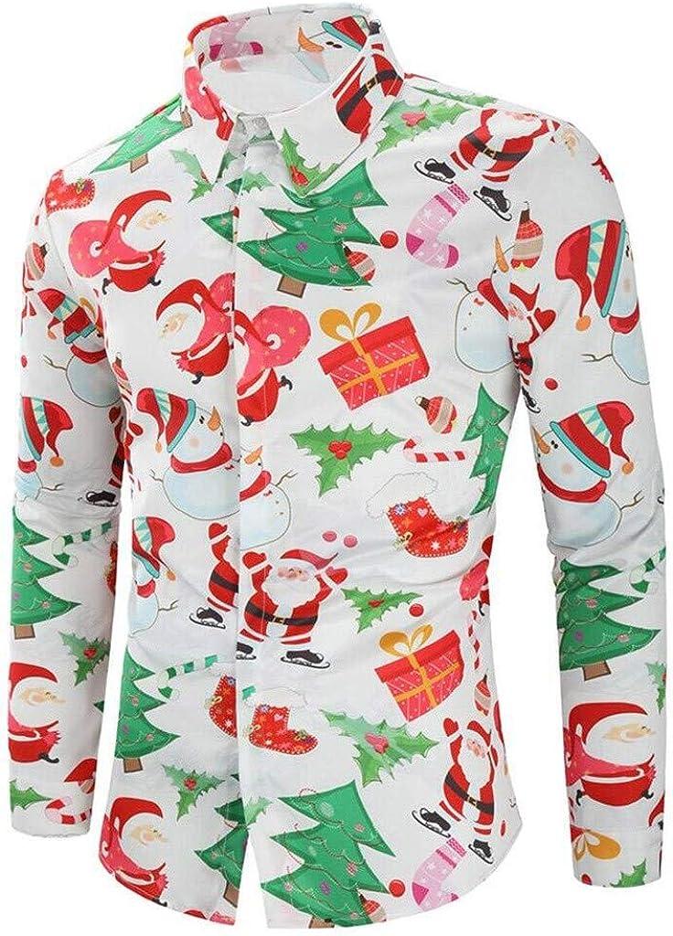 SERYU Casual ShirtsMen's Autumn Fashion Casual Chirstmas Printed Long-Sleeved Top Blouse Shirt