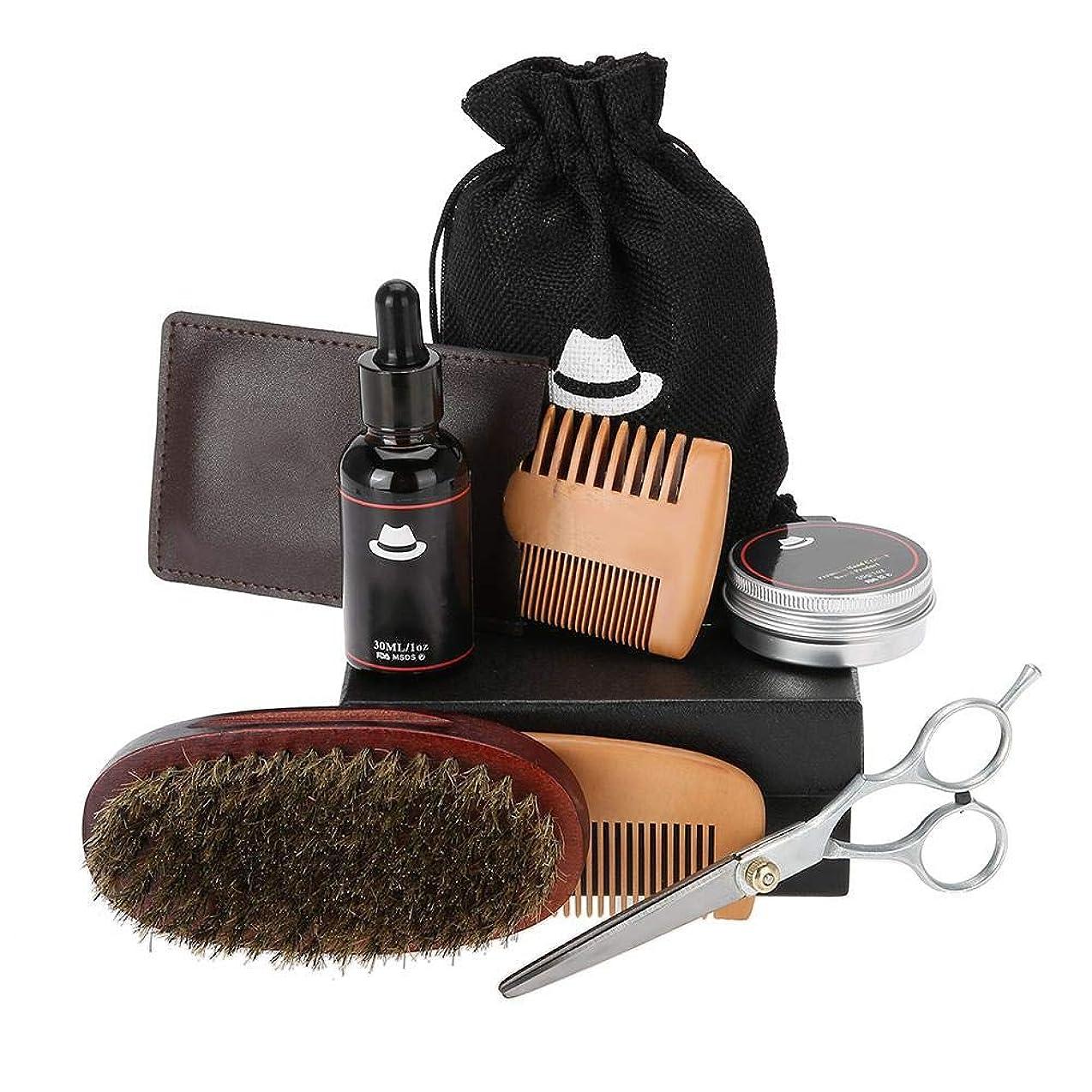 洗練透過性いろいろ1つのひげのグルーミングセットに付き6、ひげオイルが付いている人のためのひげの心配のキット、木の櫛、イノシシの剛毛のブラシ、香油、口ひげのスタイリングを助け、柔らかく滑らかに保ちなさい