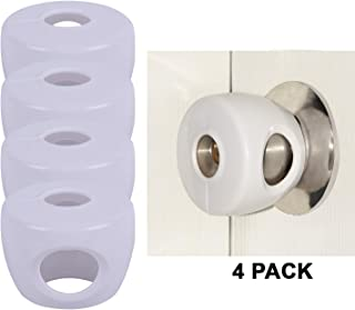 Door Knob Cover by CUTESAFETY - Baby Safety Covers to Lock Doors Knobs - Child Proof Handle Locks to Guard Kids - Doorknob Protector for Children - Toddler Proofing - Plastic (White, 4)