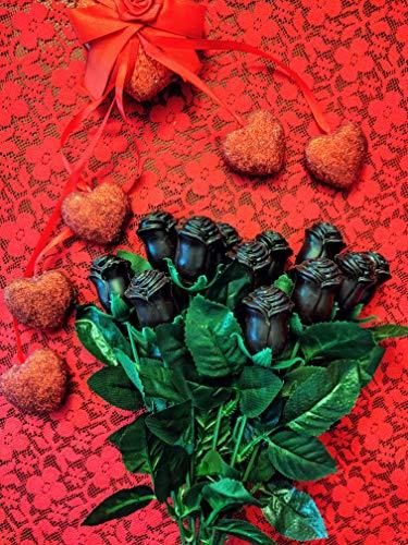 Stem Solid Dark Chocolate Roses