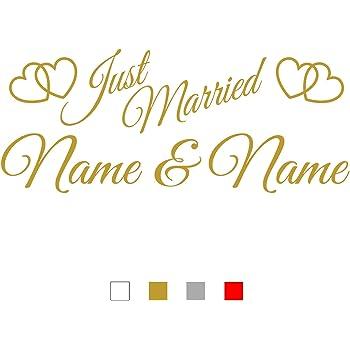 Hochzeit Aufkleber Wedding Wunschname Autoaufkleber Hochzeitsaufkleber Nr.20