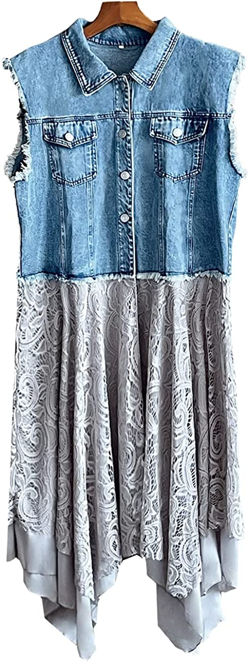 Omoone Women's Jean Vest Mid Long Ripped Patchwork Asymmetrical Irregular Lace Extender Hem