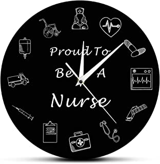 The Geeky Days Nurse 12 Inch Wall Clock Nursing Medical RN Healthcare Battery Operated Wall Clock Silent Non-Ticking Quartz Clock Medical Office Hospital Decor Art Nurse Practitioner Graduation Gifts