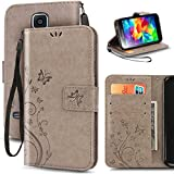 KUAWEI Coque Samsung Galaxy S5 Etui Cuir Galaxy S5 Cover Samsung S5/S5 Neo Coque Flip Cover avec Fonction Stand et Fente Carte Portefeuille Housse pour Samsung Galaxy S5/S5 Neo 5.1' (Gris)
