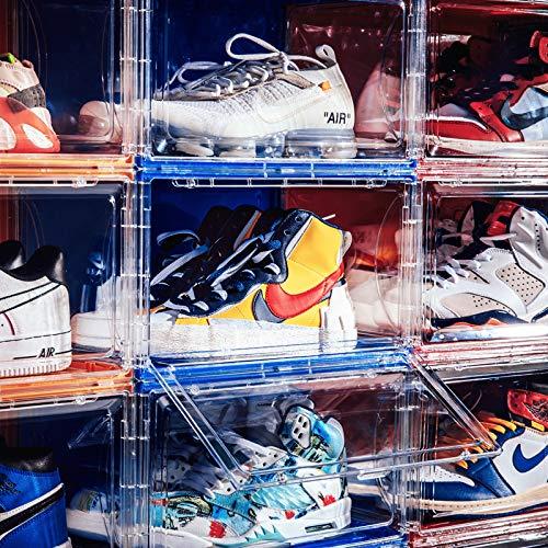 Caja de almacenamiento transparente para zapatillas, zapatos deportivos, zapatos de baloncesto, caja de zapatos magnética, alta parte superior, zapatillas, colección de zapatero (tipo 5)