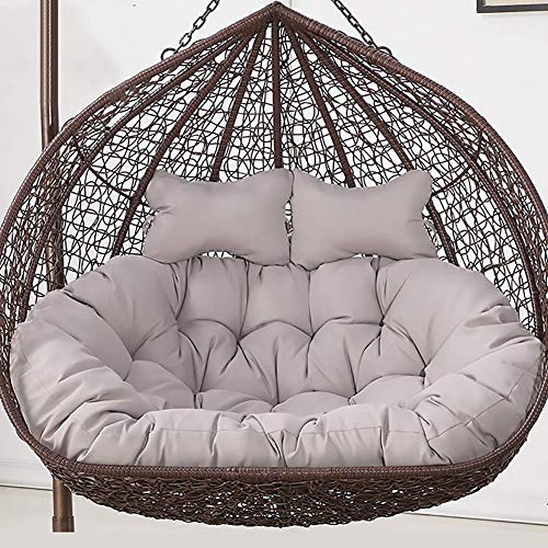 MSTOLL Solid Color Papasan Rattan Papasan Chair Cushion Soft Hanging Basket Chair Cushions Outdoor Patio Pads For Indoor Balcony-150x110cm Light gray