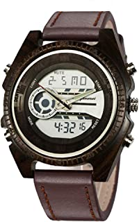 Wooden Watches, shifenmei Mens Wooden Watches Multifunctional Japanese Movement and Battery Lightweight Digital Watches Analog Quartz Handmade Wood Watch with Gift Box