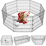 Puppy Pet Playpen 8 Panel 24 Inch Indoor Outdoor Metal Portable Folding Animal Exercise Dog Fence Ideal for Pet Animals Dog Cat Rabbit Breed Puppy