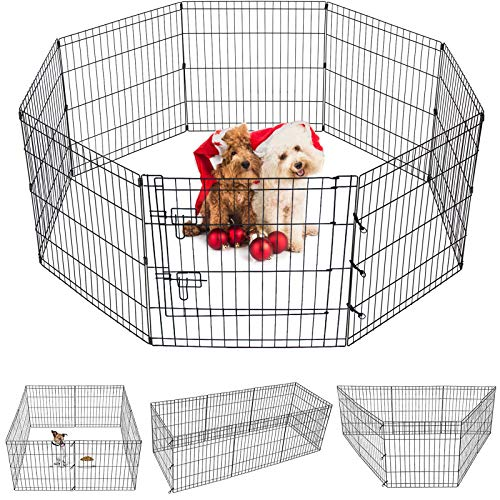 Puppy Pet Playpen 8 Panel 24 Inch Indoor Outdoor Metal Portable Folding Animal Exercise Dog Fence...