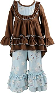 Girls Clothes Outfit Kids Ruffle Shirts Dress Boutique Bell Pants Set