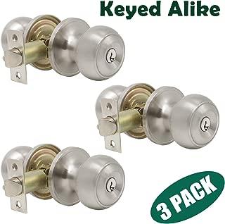 Probrico Brushed Nickel One Keyway Entrance Door Knobs Entry with Key Handles Keyed Alike Door Lockset Pack of 3