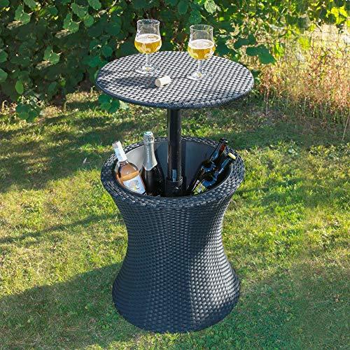 Skylantern - Mesa de jardín exterior con cuenco de hielo para bebidas frías – Mesa auxiliar de altura ajustable efecto mimbre – Mesa Nevera integrada