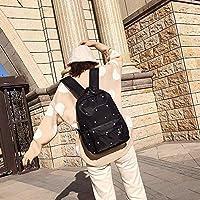林小フットプリント柄防水オックスフォード布のショルダーバックパックカジュアルハンドバッグショルダーバッグ(ブラック) Chenhuis (Color : Black)