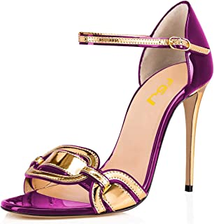 FSJ Women Chic Stiletto High Heel Sandals Open Toe Ankle Strap Buckled Colorful Wedding Dress Pumps Size 4-15 US
