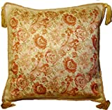 Decor Plus Aubusson Style Cushion/pillow Cover 18' Embroidered with Intricate Golden Threads 03G