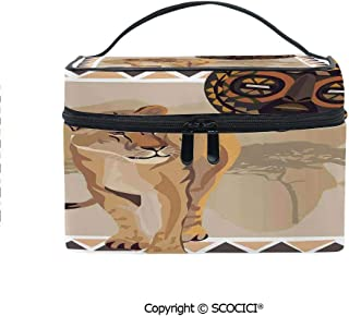 Makeup Case Double Zipper Travel Cosmetic Bags Tiger with African Tribal Icon Ethnic Patterns Wild Nature Art Illustration for Women Girls