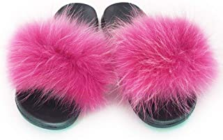 Womens Winter Luxury Real Raccon Fur Slippers Slides Indoor Outdoor Flat Soles Soft Slip On Shoes