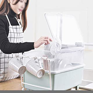 MU Ménage Boîte de Rangement portative Cuisine en Bois Massif Vaisselle drainante à Couvercle de Grande capacité créative ...