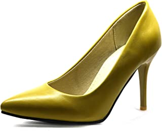 749ee7d74c54 Fragrancety New Elegant Yellow Brown Women Nude Pumps Black Super High  Heels Lady Office Plus Big