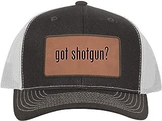 One Legging it Around got Shotgun? - Leather Dark Brown Patch Engraved Trucker Hat