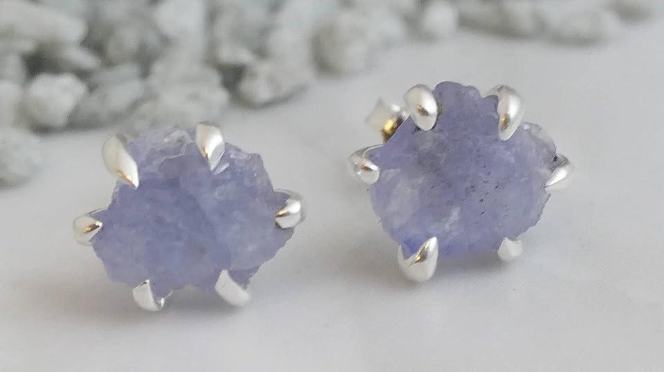 Raw Tanzanite Sterling Silver Stud Earrings - Gemstone Jewelry Gift Ideas for Women