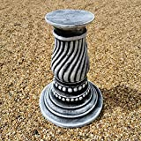 <span class='highlight'>Garden</span> Ornaments & Accessories Concrete Round Swirl Tall Plinth Black And White