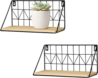 Mkono Floating Shelves Wall Mounted Set of 2, Rustic Modern Wood Wall Storage Shelves with Metal Wire Display Shelf for Bedroom Living Room Bathroom Kitchen Office,Beige,Small 11.5 Inch