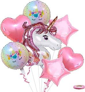 Dsaren 8 Piezas Feliz Cumpleaños Unicornio Grande de Globo Corazón Estrella Globo Rosa con Globos Cinta para Unicornio Fiesta Decoración Cumpleaños Boda Carnaval Baby Girl Party
