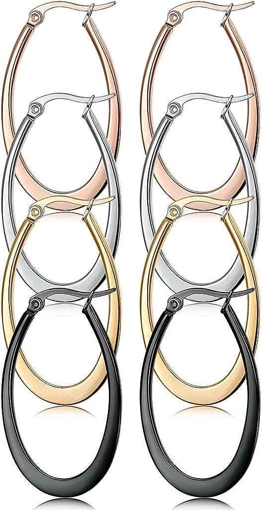 Jstyle 4 Pairs a Set Stainless Steel Teardrop Hoop Earrings for Women 35MM