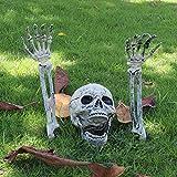Balight Ossa di Scheletro realistiche Testa e Mani del Teschio per la Migliore Decorazione del Party di Halloween e Scena del cimitero più spettrale Unico