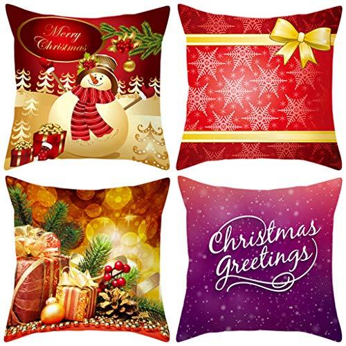 KAIDOU 2020 New 4PC Christmas Pillow Case Sofa Cushion Cover Home Decor 4Pcs Bed Merry Pillowcase Pad Set Decoration 18''X18''